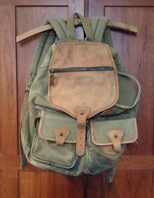 Eddie Bauer 1990's Vintage Back Pack Rugged Canvas  Leather Flap As Is