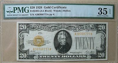 1928 $20 Twenty Dollar Gold Certificate PMG 35 Choice Very Fine EPQ