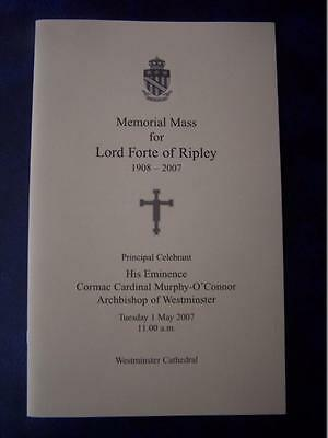 Lord Forte of Ripley  - Memorial Service  program - Social History - Ephemera
