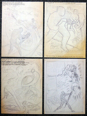 The Human Torch Repro 1942 Sketch Illustrations X 4 . Marvel Comics Not Dvd