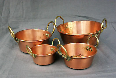 Vintage Copper Cooking Dishes Set Of 4 Tin Lined Copper Pans Brass Handles