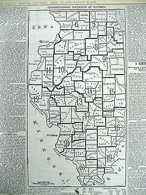 1882 newspaper JESSE JAMES WIDOW FUND Historic Map Illinois Election Districts
