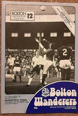 Bolton Wanderers v Mansfield Town FA Cup 1983/84