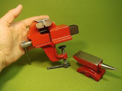Set of Vintage Iron Miniature Anvil Bench Vise ЧИЗ Chelyabinsk Instr. Plant (631