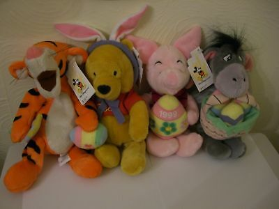 Disney WDW Pooh set 4 Easter 1999 Large Beanie Plush