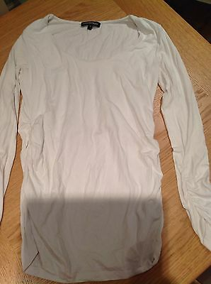 Isabella Oliver Maternity Long Sleeved Top Scoop Neck White Size 3