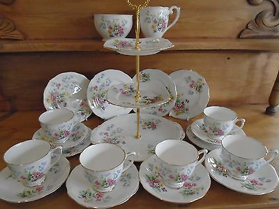 Vintage Queen Anne Old Country Spray 21 Teaset/ Cakestand For A Teapot/wedding