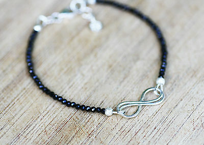 Diamond Look Natural Black Spinel Infinity Stacking Bracelet Sterling Silver