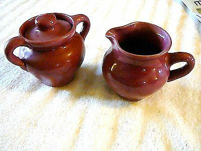 Cornelison Pottery Red/Plum Sugar & Creamer Bybee Kentucky, Excellent Condition