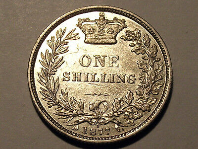 A Lovely 1877 Queen Victoria Silver Shilling Die 7 Good Grade