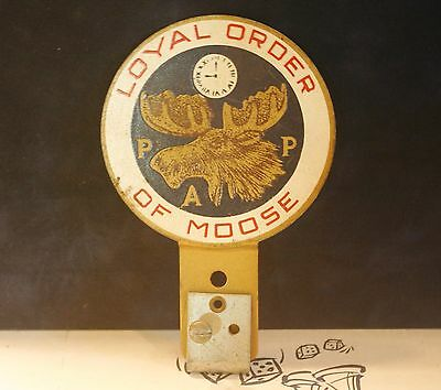 "Vintage Loyal Order Of Moose ""Auto-Glo"" License Plate Topper"