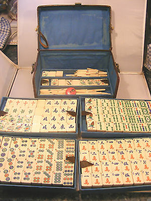 Antique Chinese Mahjong Dovetail Set Bamboo 156 Tiles Leather Cased