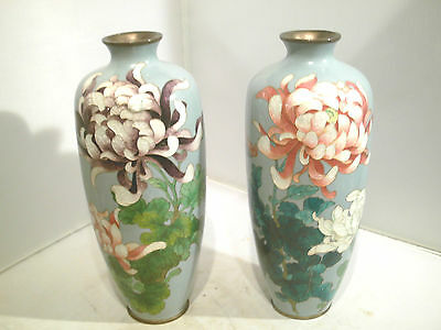 Antique Pair Of Cloisonne Vases Signed  Adachi  Kinjiro