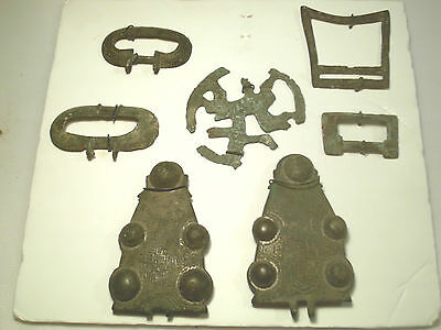 Antique  Group Of Saxon & Medieval Bronze Buckles Other Items Of Northern Europe