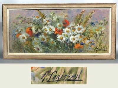 Vintage French Oil Painting Wildflowers Poppies & Daisies, Signed Alice Carissan