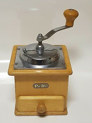 Old European PeDe wooden  Coffee Grinder Hand Crank Mill .