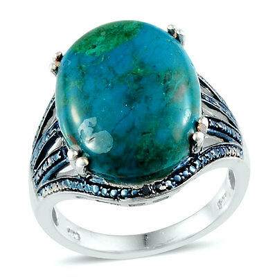 Genuine Chrysocolla w/Blue Diamond Ring in Platinum Overlay Sterling Silver Sz.8