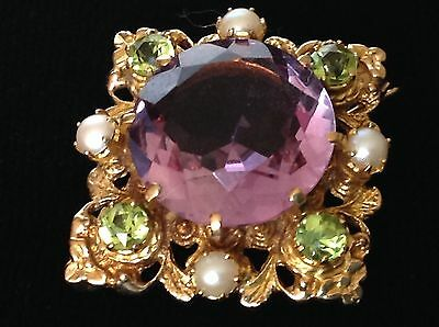 A1 WOW AMETHYST PERIDOT PEARL SUFFRAGETTE 9ct GOLD BROOCH!