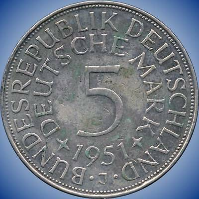 1951 'J' Germany 5 Mark Silver Coin (11.2 g .625 Silver)