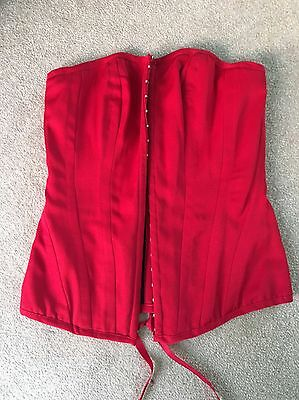 Red Lace Up New Look Corset Size S 8/10 Vintage Pinup