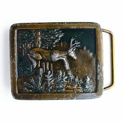 Vintage 1977 Deer Buck In Forest Brasstone Indiana Metal Craft J97 Belt Buckle