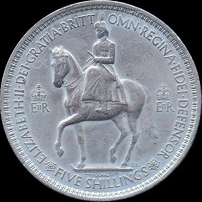 """1953 Great Britain 1 Crown """"5 Shillings"""" Coin"""