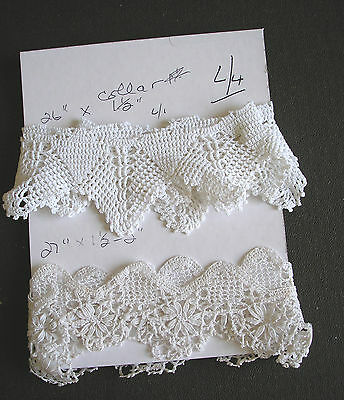 VINTAGE LACE TRIM  2 X ASSORTED LACE EDGING  App   1 1/4  yd IN TOTAL LOT L/4