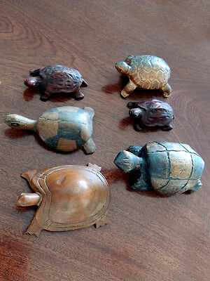 Six Wooden Turtle / Tortoise Ornaments Collection