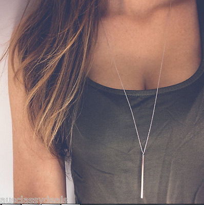 Ladies Jewelry Silver Gold Chain Necklace Charm Bar Simple Women Fashion Pendant