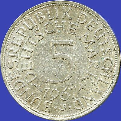 1967 'G' Germany 5 Mark Silver Coin (11.2 grams .625 Silver)