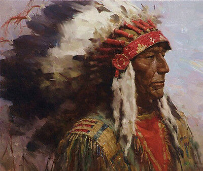 Native American Old Chief Wedding Art Oil Painting Portrait On Canvas Wild West