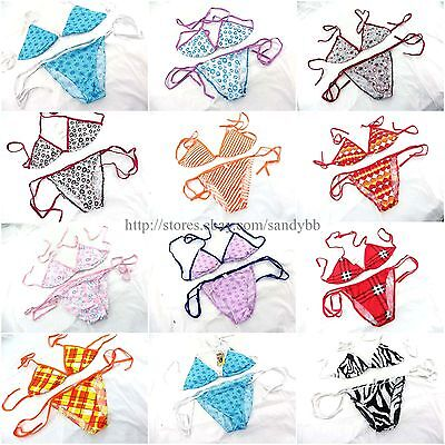 US SELLER-wholesale 10 sets Bikini Top and Bottom Set cute clothes for the beach