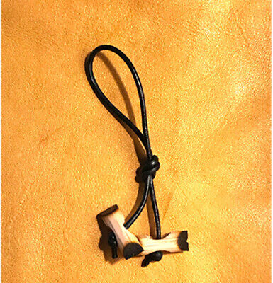 Three Small Wood Badge Beads on a Zipper Pull