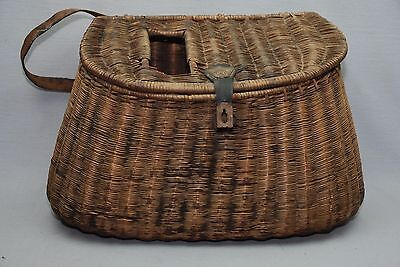 Antique Tight Weave Wicket Fishing Basket Creel
