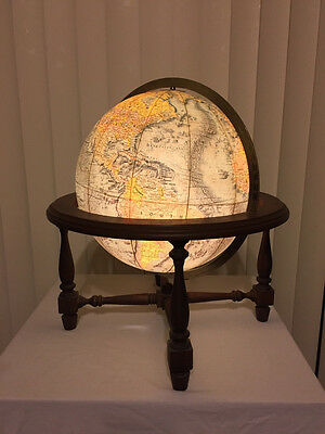 Vintage Replogle World Vision 12 inch Globe In Wood Cradle Stand Executive