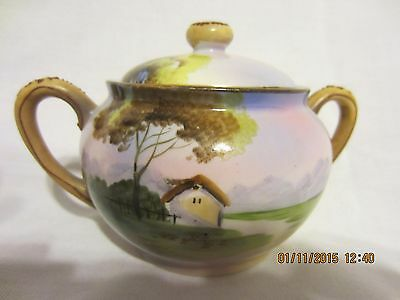 Nippon Scenic Hand Painted Sugar Bowl With Handles & Raised Detail Marked C18