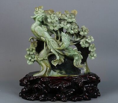 China Exquisite Hand-carved Phoenix and flowers carving Dushan jade statue