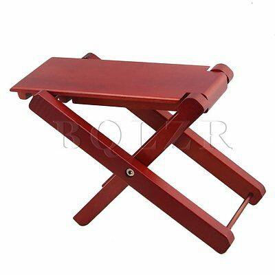 Beech Wood Red Adjustable Height 4-Level Foldable Guitar Pedal Footrest