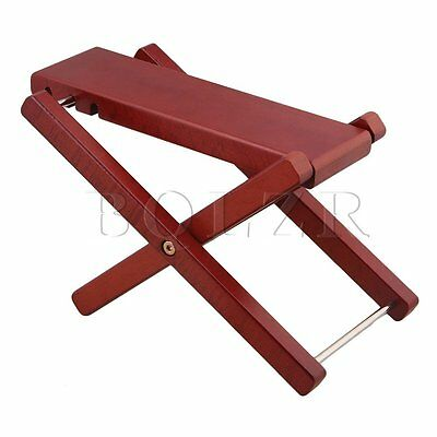 Beech Wood Red Adjustable Height 3-Level Foldable Guitar Pedal Footrest