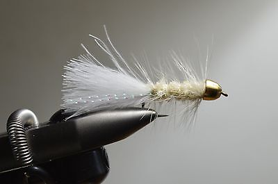 9 white conehead wooly bugger assortment, 3 of each size (8-10-12)