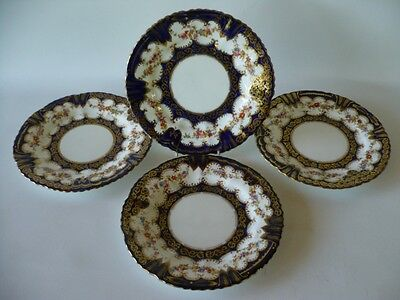 4 Antique Crown Staffordshire Blue Gold Floral Display Plates