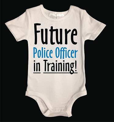 FUTURE POLICE OFFICER White Cotton Unisex Baby One-Piece. Funny