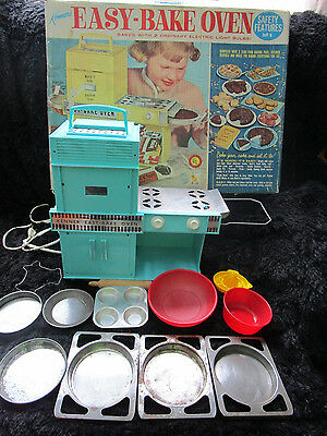 VTG Original First 1964 Kenner Toy Easy Bake Oven Turquoise in Box Works!