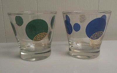 """2 Vtg Mid-Century Russel Wright Lowball Glasses Eclipse Blue Green Gold 3.5"""""""