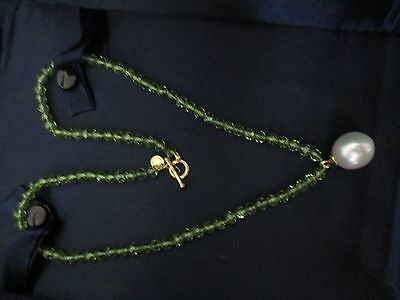 100% Genuine Tiffany & Co peridot pearl necklace-18k yellow gold