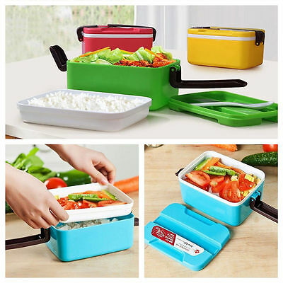 2 Layers Microwave Plastic Bento Lunch Box Picnic Food Container Storage + Spoon