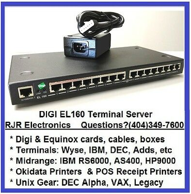 Digi Etherlite 160 EL160 16-Port Terminal Server 50000986-01 70001878 70001427