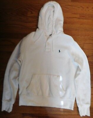 Men's White Polo Ralph Lauren Hoodie hooded Sweatshirt Size Medium Mens M