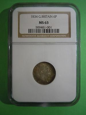 1834 William Iiii Silver Sixpence Ngc Ms63 Rare This Nice
