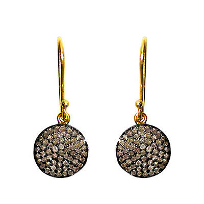 14k Gold Pave Diamond Dangle Hook Earrings 925 Sterling Silver Antique Style CY